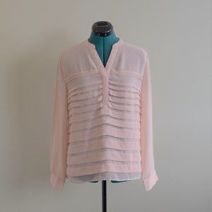 Long Sleeve Blush Pink Blouse Semi-Sheer